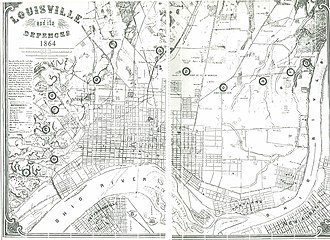 American Civil War fortifications in Louisville - 1864 map showing the eleven forts and other defenses. Viewed from the north; Kentucky is above the river, Indiana below.