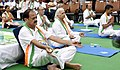 M. Venkaiah Naidu alongwith the Lt. Governor of Delhi, Shri Anil Baijal and the Chief Minister of Delhi, Shri Arvind Kejriwal performing Yoga, on the occasion of the 3rd International Day of Yoga – 2017.jpg