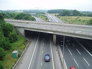 M26 motorway - M26 looking east at junction 5. The A21 from Sevenoaks is crossing on the bridge in the foreground.