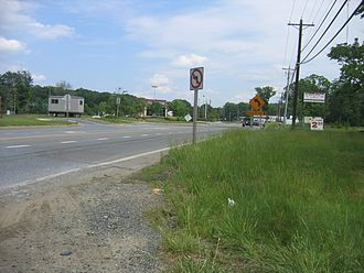 Maryland Route 373 - MD 373 eastbound past its western terminus at MD 210 in Accokeek