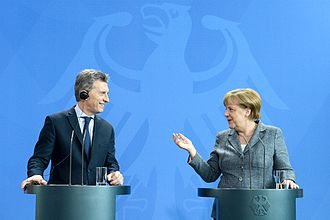 Argentina–Germany relations - President of Argentina, Mauricio Macri with the German Chancellor, Angela Merkel in Berlin, July 2016.