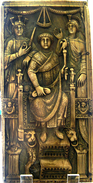 Consular diptych - Consular diptych of Magnus, who was consul of Constantinople in 518. He sits between figures representing Rome and Constantinople. Louvre