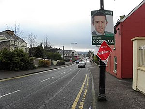 Brian Ó Domhnaill - An Ó Domhnaill election poster on Stranorlar main street during the Donegal South-West by-election, 2010.