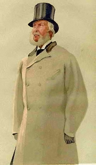 Overcoat - A double-breasted Chesterfield coat with top hat (1876).