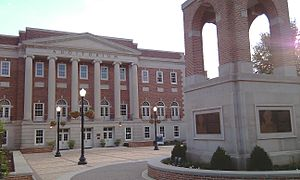 University of Alabama - Foster Auditorium and Malone-Hood Plaza today. Lucy Clock Tower is in the foreground.