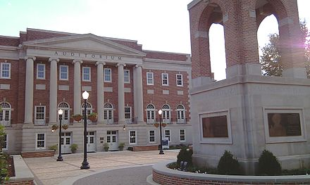 Foster Auditorium and Malone-Hood Plaza today. Lucy Clock Tower is in the foreground. Malone Hood Plaza University of Alabama northeast view.jpg