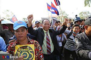 2013–14 Cambodian protests - Image: Mam Sonando protest 2014
