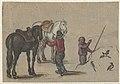 Man twee paarden vasthoudend en een man bij vogels.jpeg