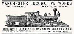 Manchester Locomotive Works - 1882 advertisement for the Manchester Locomotive Works