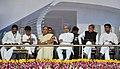 Manmohan Singh at the foundation stone laying ceremony for the development of Kishangarh Airport, in Ajmer Rajasthan. The Governor of Rajasthan, Smt. Margaret Alva, the Union Minister for Civil Aviation, Shri Ajit Singh.jpg