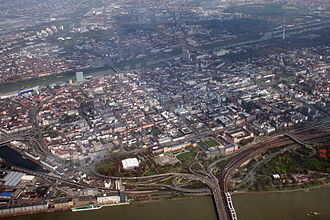 Mannheim - Aerial view of Mannheim, showing the grid layout