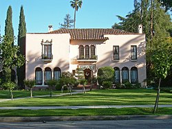 The historic Wright House, built in 1922 by Frank Delos Wolfe.