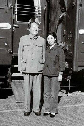 Mao Zedong and Zhang Yufeng in 1964
