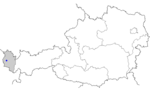 Map of Austria, position of Laterns highlighted