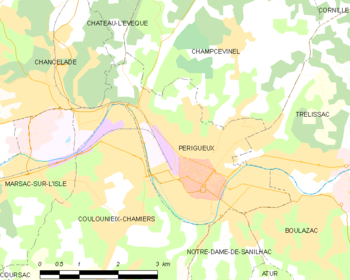 Map of the commune of Périgueux