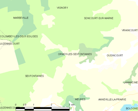 Mapa obce Ormoy-lès-Sexfontaines