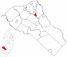 Wenonah highlighted in Gloucester County. Inset map: Gloucester County highlighted in the State of New Jersey.