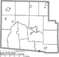 Map of Hardin County Ohio Highlighting Ridgeway Village.png