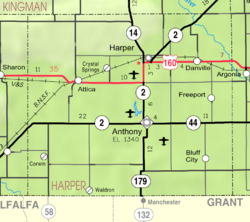 KDOT map of Harper County (legend)