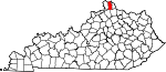 State map highlighting Kenton County