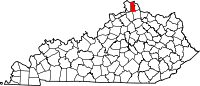 Map of Kentucky highlighting Kenton County