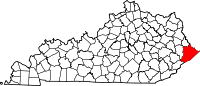 Map of Kentucky highlighting Pike County