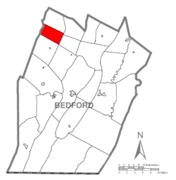 Map of Bedford County, Pennsylvania highlighting Lincoln Township
