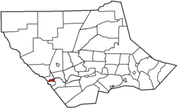 Map of Lycoming County, Pennsylvania highlighting Jersey Shore