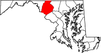 Map of Maryland highlighting Frederick County