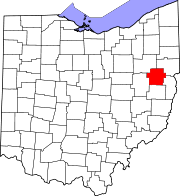 Map of Ohio highlighting Carroll County