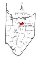 Map of Armstrong County, Pennsylvania highlighting Pine Township