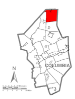 Map of Columbia County, Pennsylvania highlighting Sugarloaf Township