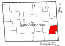 Map of Susquehanna County, Pennsylvania highlighting Herrick Township