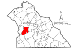 Map of York County, Pennsylvania highlighting Jackson Township