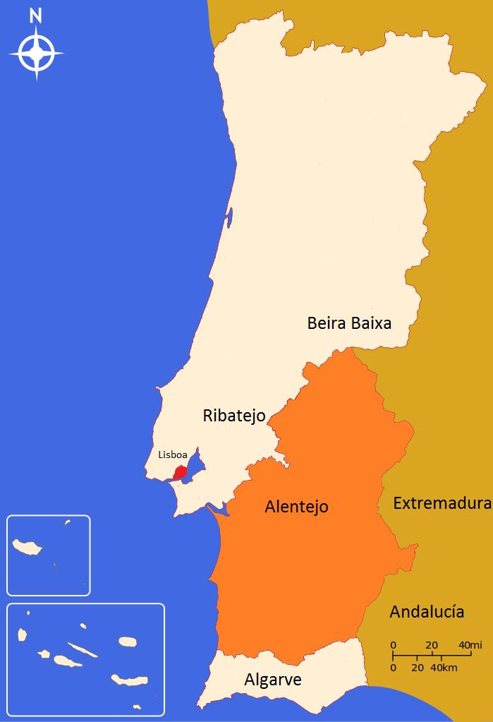 Mapa do Alentejo em Portugal