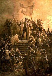 Artist Mihály Zichy's rendition of Sándor Petőfi reciting the Nemzeti dal to a crowd on March 15, 1848