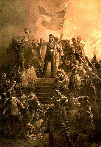 Hungarian Revolution of 1848 - Artist Mihály Zichy's painting of Sándor Petőfi reciting the National Poem to a crowd on 15 March 1848