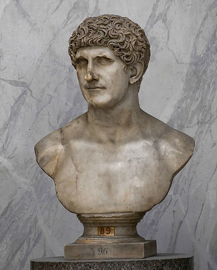 A Roman marble portrait bust of Mark Antony, made during the Flavian dynasty (69-96 AD), Vatican Museums Marcus Antonius marble bust in the Vatican Museums.jpg