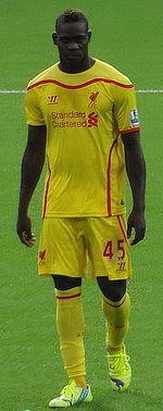 Balotelli con la maglia del Liverpool nel 2014