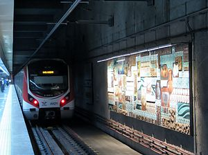 Marmaray Tunnel - A Marmaray train at Yenikapı station.