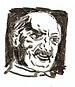 Brush drawing of German philospher Martin Heid...