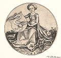Martin Schongauer - Wappenschild mit Schwan, von einer Jungfrau gehalten (L 97).jpg
