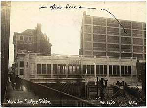 Hynes Convention Center (MBTA station) - Surface transfer station and the Boston Transit Building in November 1919