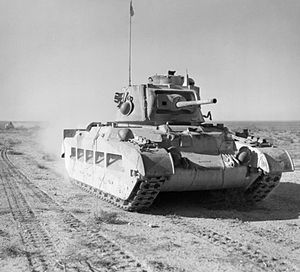 Richard O'Connor - A Matilda tank advances through Egypt as part of Operation Compass.