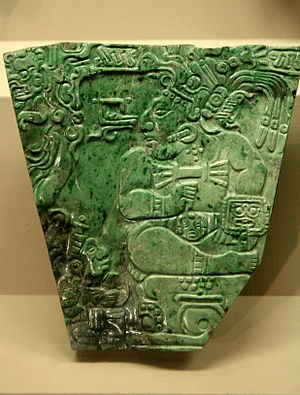 Jade use in Mesoamerica -  Jadeite plaque, Maya, Late-Classic, from Teotihuacan. British Museum.