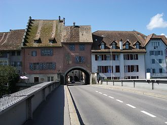 Mellingen - Reuss bridge from 1928 (first mentioned 1253) with the portal from 1526