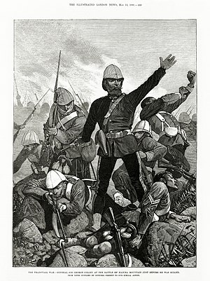 Battle of Majuba Hill - Image: Melton Prior Illustrated London News The Transvaal War General Sir George Colley at the Battle of Majuba Mountain Just Before He Was Killed