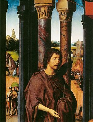 St John Altarpiece (Memling) - St John the Baptist in the foreground with events of his life depicted beyond