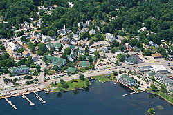 Bird's-eye view of Meredith village