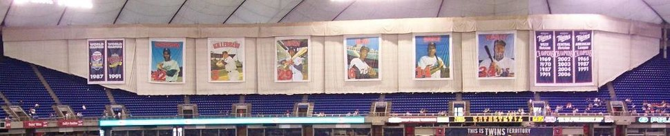 Banners and retired numbers displayed in the Metrodome